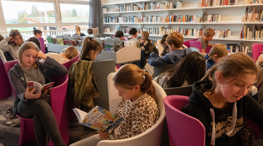 Photo d'élèves en temps DEAR dans le CDI de l'école de Lille
