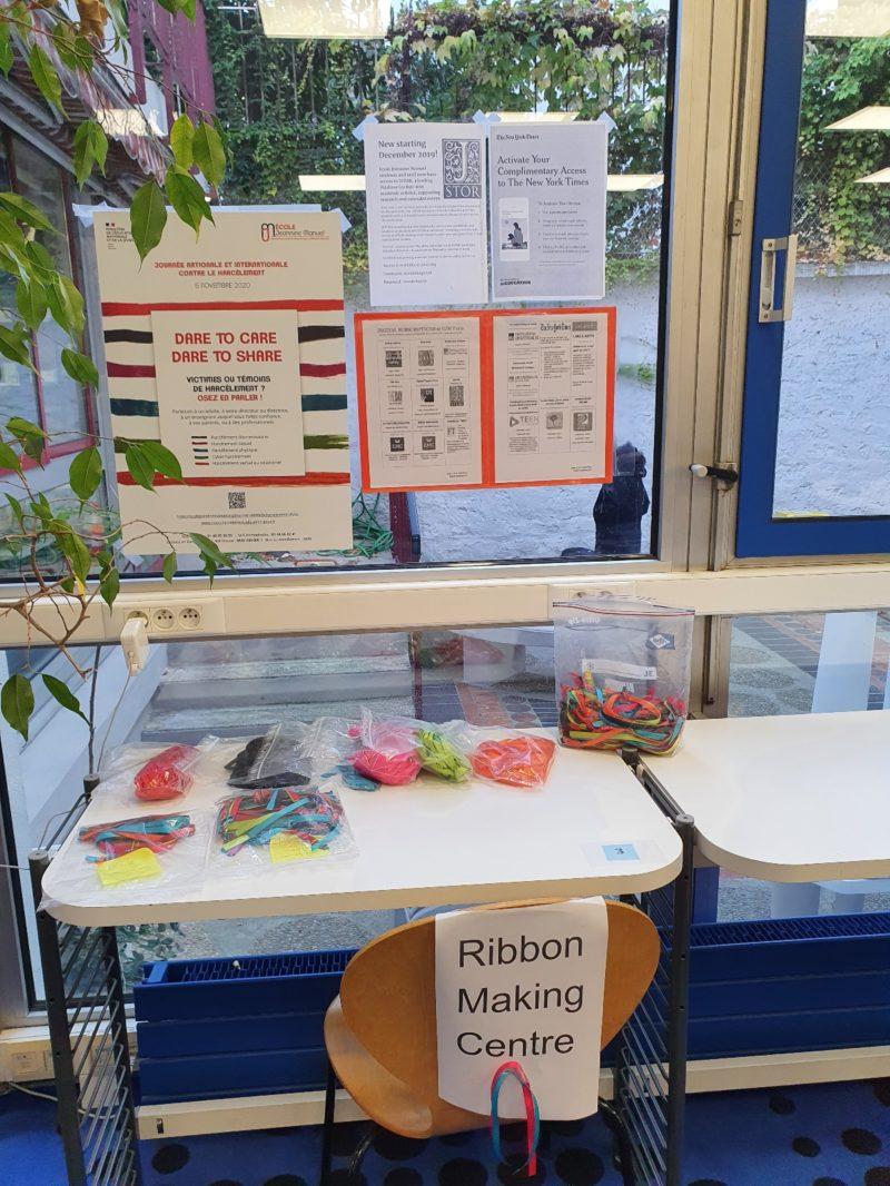 Ribbon making station for anti-bullying day
