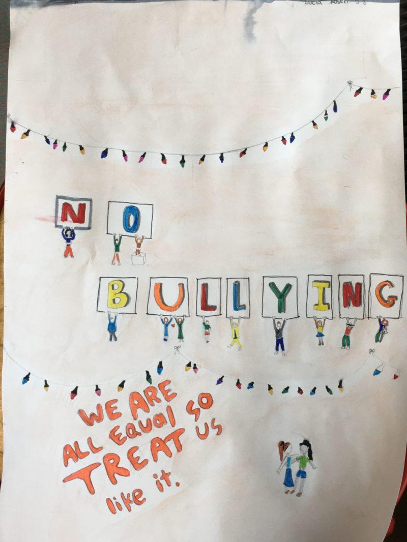 Photo d'affiche créée par une élève pour la journée contre le harcèlement