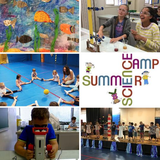 Mosaïque de photos des summer et science camps de l'École Jeannine Manuel Paris